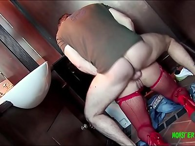 Big dick stud Ian Tate fucks dirty red head in a public toilet